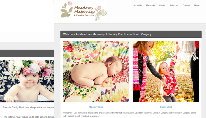 meadows maternity calgary - web site sample
